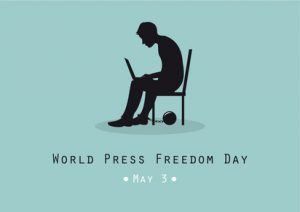 World Press Freedom Day vector. Vector illustration of the Press Freedom Day. Man sitting with computer. Silhouette of a seated figure