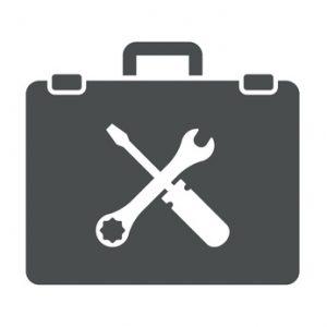 Icono aislado maletin con simbolo herramientas gris