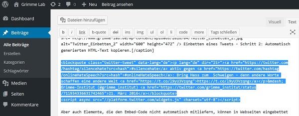 Einbetten eines Tweets - Schritt 3: HTML-Code in den HTML-Editor des Content-Management-Systems kopieren.